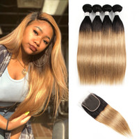 Wholesale ombre human hair extensions closure resale online - Kiss Hair Indian Straight Hair Weave B Dark Root Honey Blonde Extensions Ombre Human Hair Bundles with Lace Closure
