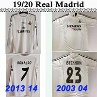 ingrosso ronaldo bianca lunga maglia-2003 04 Real Madrid # 23 BECKHAM # 10 FIGO # 5 ZIDANE Maglia da uomo a manica corta da calcio 2013 14 RONALDO Maglia da calcio bianca manica lunga