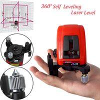 auto-nivelamento de laser de linha cruzada venda por atacado-1pc AK435 360 Degree autonivelamento Cruz Laser Nível 2 Linha 1 ponto com pacote