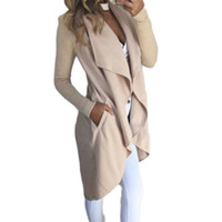 ingrosso cardigan a cascata aperta-NEW Fashion Giacca da donna Open Front Coat Lady Long Overcoat Waterfall Cardigan