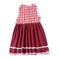 bir pleat bebek kıyafeti toptan satış-Bebek Kız Ekose Elbise Çocuklar Yelek etek Kolsuz Yuvarlak Yaka Dantel Diz Boyu Pileli Kız Tek parça Elbise 32