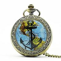 relojes de anclaje al por mayor-Nueva moda The Rudder Anchors Roman Numeral Dial cuarzo reloj de bolsillo analógico collar colgante para hombre relojes para mujer PB622