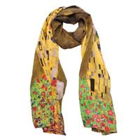 ingrosso cravatte di marca di marchio-Moda Donna Sciarpa lunga 100% Crepe De Chine Pittura ad olio seta Avvolge sciarpe Marca Opere di Gustav Klimt