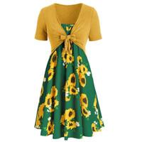 sarı zarif çiçekler elbisesi toptan satış-Moda yaz Ayçiçeği çiçek Iki parçalı set kısa kollu zarif elbise kadınlar bayanlar için boho elbiseler S-XXL yeşil sarı kırmızı