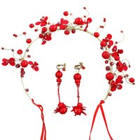 Wholesale suits chain accessories for sale - Group buy Korean Bride Wedding Suit Will Red Torsional Beads Hair Chain Nothing Ear Hole Ear Clamp Group Combine Suit Toast Serve Accessories