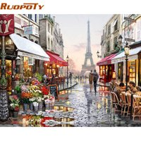 Wholesale paris street paintings resale online - RUOPOTY Paris Street DIY Painting By Numbers Handpainted Canvas Painting Home Wall Art Picture For Living Room Unique Gift X50