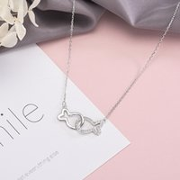 Wholesale pisces silver necklace resale online - S925 sterling silver pendant necklace for ladies high quality zircon Pisces collarbone chain for ladies fashion jewelry