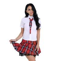 escuela de uniforme sexy japonesa al por mayor-Lencería femenina Uniforme escolar japonés Camisa de Corea con minifalda Corbata Disfraces de cosplay sexy para mujeres Disfraces