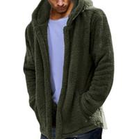 случайные мягкие мужчины толстовки оптовых-Mens Coat Man Double-Sided Plush Hoodie Soft Thin Coat Autumn Winter Leisure Outwear Jackets Men Male Casual Loose Coats Jacket