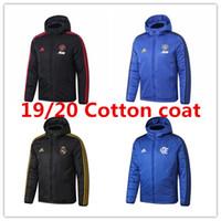 fatos de treino venda por atacado-19 20 Real Madrid Manchester Cotton coat Down Jacket homens Modric hoodie do treino de futebol Pogba veste casaco de inverno de futebol Flamengo RJ