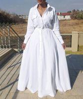 vestir mujeres de talla grande al por mayor-Tamaño más 2019 Moda de manga larga maxi vestidos de las mujeres otoño maxi larga de algodón vestido de gran tamaño grande Mujeres Vestidos vestido de las señoras FS5107