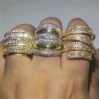 diamantes de cruz de oro amarillo al por mayor-Hiperbole Anillo de dedo de oro amarillo lleno Pave ajuste Diamond Cz Cruz compromiso anillos de boda anillo de boda para las mujeres de los hombres regalo de la joyería
