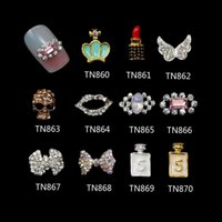 Wholesale nail skull rhinestones for sale - Group buy Blueness set Glitter Rhinestones Nail Crystals Crown Lips Lipstick Skull Wings Bow Alloy D Nail Art Decorations