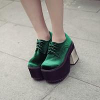 зеленые платформы пятки оптовых-Gothic Womens Velvet Lace Up High Platform Block Heels Shoes Pumps Oxfords Cosplay Black Green A114