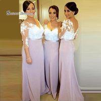 a6f8f56dfa2 2019 A-line Elegant Appliques Backless Long Sleeves V-neck Floor Length  Wedding Occasion Bridesmaid Dress High-end Wedding Boutique