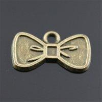 pajarita de bronce al por mayor-150 unids Charm Tie Bow Vintage Tie Bow Charms colgante para hacer la joyería de color bronce antiguo Tie Bow Charms 11x20mm