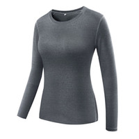 tops de manga larga xxl al por mayor-Camiseta deportiva de manga larga para mujer Camisetas Tops Deportes de yoga al aire libre Gimnasio Fitness Camisas Compresión