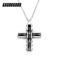 Wholesale ceramic cross pendant resale online - New Classic Black White Collapsible Rivets Cross Pendant Necklace Ceramic Fashion Jewelry For Women mm Stainless Steel Chain
