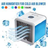 tragbarer mini usb befeuchter luftreiniger großhandel-USB Mini Tragbare Klimaanlage Luftbefeuchter Luftreiniger 7 Farben Licht Desktop Luftkühlventilator Luftkühlventilator für Office Home