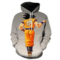 pareja de anime con capucha al por mayor-The Dragon Ball Anime impresión periférica para hombre sudaderas con capucha más tamaño sudadera con capucha de manga larga ropa de pareja