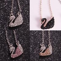 schwan halskette gesetzt großhandel-Koreanische Version von Swan Halskette voller Diamant Lady Modellierung Anhänger Schlüsselbein Kette Einfache Set Short Schmuck