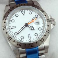 24 kadranlı saat toptan satış-Explorer II 40 MM Beyaz Kadran Safir Mens Watch Asya 2813 Hareketi Mekanik Otomatik Tarih 24 Saat Kol Saati