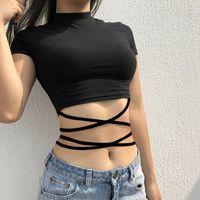 schwarze kurzarm-taille großhandel-Frauen Sommer Solid Black Rollkragen T-Shirt Sexy Kurzarm Bare Midriff Criss-Cross Bandage Crop Tops Femme