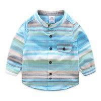 camisa do colar do mandarino dos meninos do bebê venda por atacado-Meninos Camisa de Manga Longa Primavera Outono Gola Mandarim Bolso Colorido Listrado Do Bebê Caçoa o Menino Camisas Para As Crianças