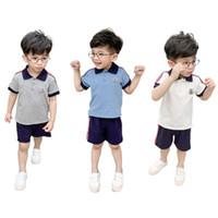 Wholesale kids sportswear sports for sale - Group buy Kids Designer Tracksuit Boys Mon Letter Lapel Stripes T shirt Shorts Piece Sets Short Sleeves Brand Sports Clothing Sportswear C52502