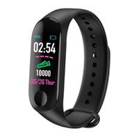 ingrosso braccialetto promemoria-Spedizione gratuita Nuovo M3 0.96 schermo a colori braccialetto intelligente orologio monitoraggio della frequenza cardiaca informazioni push Bluetooth chiamata promemoria orologio sportivo
