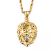 Wholesale Men Lion Head Pendant Necklace Gold Silver Stainless Steel Necklaces Rhinestone Inlaid with Link Chain Mens Male Jewelry LJJW111