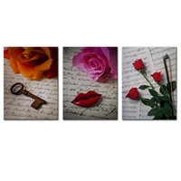 Wholesale canvas prints three panel resale online - Canvas Wall Art Rose and Music Score Painting Picture Prints Contemporary Canvas Art for Home Living Room Decor with Wooden Framed