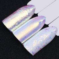 cor pó polonês venda por atacado-NASCIDO BONITO Chameleon Neon Prego Brilho Espelho Iridescente Prego Lantejoulas AB Cor Chrome Nail Art Pigmento Em Pó Gel Polonês
