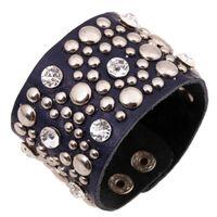 кожаные браслеты браслеты заклёпки оптовых-Gothic Punk Vintage Crystal Rivet Wide Leather Cuff Bracelet Black Silver Bead Charm Bangle Wristbands Fashion Men Women Jewelry