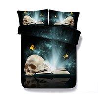 Wholesale skull 3d bedding sets resale online - 3D Galaxy Butterfly Skull print Duvet Cover with pillowcase Bedding Set Microfiber Comforter Cover Zipper Closure NO Quilt