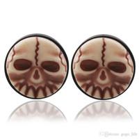 Wholesale men earring skeleton for sale - Group buy Punk Skull Earrings Plugs for Men Boys skeleton Tunnels Vintage