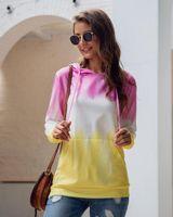 mode frau herbst sportbekleidung großhandel-Autumn Fashion Stitching Sport 2019 neue warme Fleece Damen Hoodie beiläufige Pullover lose Taschen Tops Sweatshirt