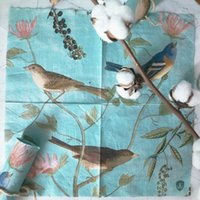 Wholesale paper for decoupage resale online - 40pcs Vintage Folded paper napkins for wedding napkins decoupage blue bird Lunch serviettes