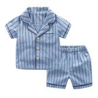 короткая полосатая пижама оптовых-Infant Baby Boy Kid Short Sleeve Striped Tops+Shorts Pajamas Outfit Set Vetement Enfant Garcon Kid Clothes Roupa Infantil 2019