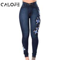 цветочные карандаши оптовых-CALOFE 2018 Ladies Jeans Flower Embroidered Elastic Female Pencil Denim Fashion Pant Sexy Skinny Pantalon Women Bottom Trouser