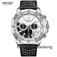 61059d4902e0 MEGIR Correa de cuero de los hombres del ejército Relojes deportivos  Cronógrafo impermeable Reloj de pulsera de cuarzo Hombre Relogios Masculino  Reloj 2103 ...