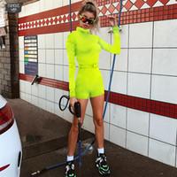 volle hülsenbodysuits großhandel-Neue Frauen-Fluoreszenz-Normallack-Rollkragen-Herbst-weiblicher voller Hülsen-Reißverschluss-Fliegen-Spielanzug-dünne beiläufige Bodysuits