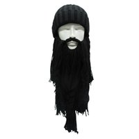 Wholesale beard ski hat for sale - Group buy 1 Handmade Men s Barbarian Beard Horn Hats Winter Warm Hunting Ski Birthday Cool Gifts For men W3