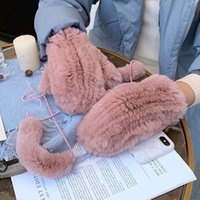 Wholesale rabbit gloves mittens for sale - Group buy Real Rex Rabbit Fur Winter Women s Gloves Warm Thick Ladies Fur Mittens Elastic Girls Ski Glove Mitts Elastic Soft With