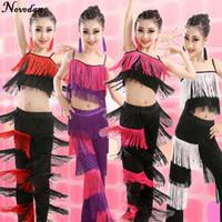 ingrosso costume delle frange delle ragazze-Nuovi bambini Bachata Costumi di danza latina Ragazze Ballroom Tango Salsa Concorso di danza latina Costume Fringe Pants Top