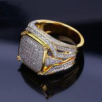 anillo de zafiro amarillo oro 18k al por mayor-18 K oro amarillo lleno Natural Gemsstone blanco zafiro Diamond CZ anillo propuesta de boda novia hombres anillo marca de joyería tamaño 5-12