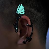 jóias dragão mulheres venda por atacado-1 Pc Mulheres Do Punk Luminosa Dragon Forma Ear Cuff Clipe Brinco Sem Piercing Jóias Novo