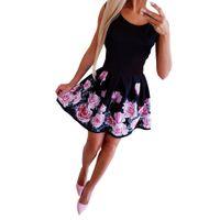 Wholesale cap vetement resale online - 2019 vetement femme Women Summer Office Cotton Fashion Dress Sexy Round necked Rose Printed Dress floral Temperament dress Y200102