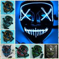 ingrosso lampeggiante corda palla-LED Face Mask EL Wire Halloween Maschera di Natale Illumina la fenditura fantasma Maschera DJ da The Purge Anno elettorale Grande per Cosplay LED Giocattoli da festa 100 pz