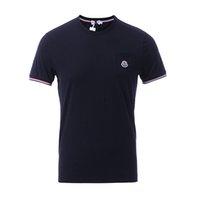 camisas de hombre cuello elástico al por mayor-Nuevo Hombres camiseta elástica Cuello redondo 2019 Camisetas de moda de verano Camiseta masculina Tops algodón Marca LOGO Bordado camiseta de los muchachos S-5XL